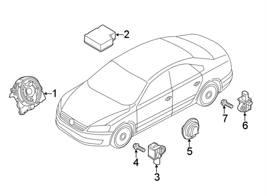 volkswagen passat air bag impact sensor front modules sensors crash